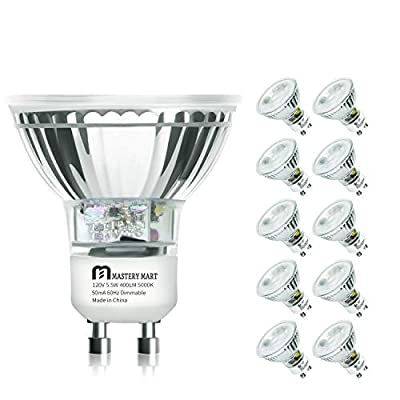 LED GU10 Spotlight Light Bulbs, 50 Watt Equivalent, 5.5W Dimmable, Full Glass Cover Reflector, 5000K Daylight, 25000 Hours, UL Listed, Energy Star Certified, by Mastery Mart (Pack of 10)