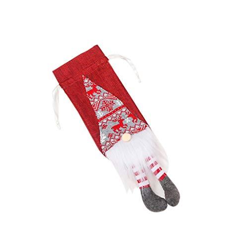JIY-Bote de Basura JSY - Set di bottiglie di vino rosso in tela lavorata a maglia, senza volto, con piedini per appendere bottiglie di vino rosso