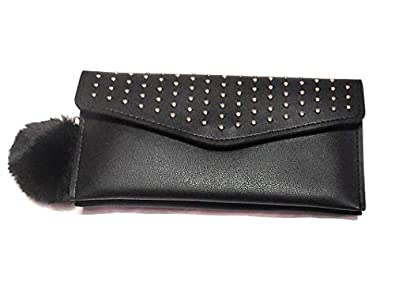 Garima Black Leather Girl's Clutch (GT pocket wallets-314p)