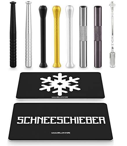 BALLER.STORE 7X Ziehröhrchen inkl. SCHNEESCHIEBER & Schneeflocken-Karte | Schnupfrohr | Schnupftabak | Dosierer |