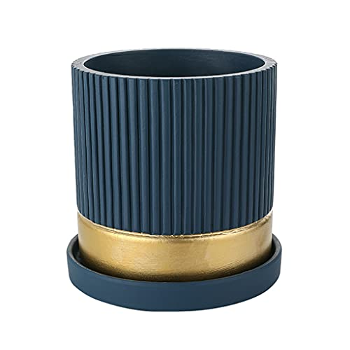 YIXIN2013SHOP Flower Pots Round Striped Gold Rim Cement Flower Pot With Drainage Hole and Tray For Indoor and Outdoor Planting Of Plants and Flowers Plant Pot (Color : E)