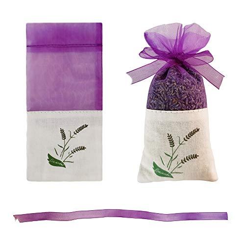 insoftb 15pcs Lavender Pattern Sachet Bags Empty for Lavender Buds Rose Herbs Organza Gauze Ribbons Storage Bags Cotton Ramie Sacks