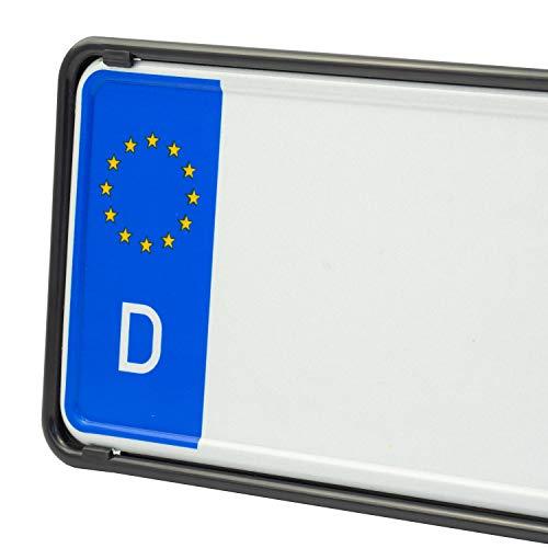 EUROSNAP Auto Kennzeichenhalter Schwarz 2er Set Inklusive Montageanleitung - für Deutschland - Dezenter KFZ Kennzeichenrahmen - Universal PKW Nummernschildhalter
