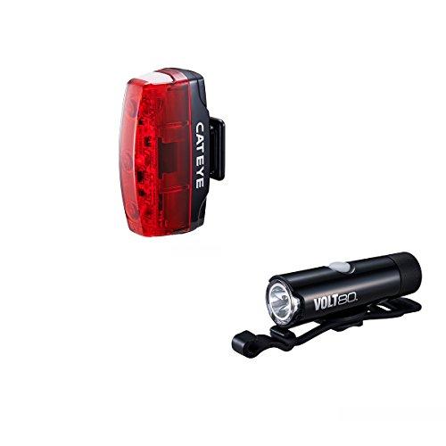 CatEye Micro Set-HL-EL050RC/TL-LD620 Volt 80 Juego deluz Frontal y Trasera para Bici–Negro