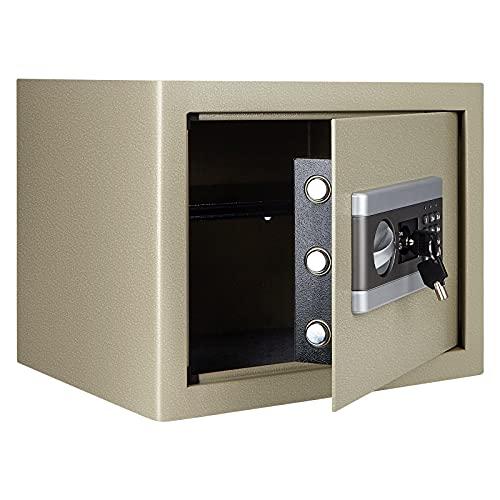TOPQSC Coffre-fort ignifuge et étanche avec serrure à combinaison numérique pour argent et bijoux (1,0 gris)