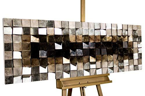 KunstLoft Extravagantes Holz Wandbild 'Lustrous Pixel' 147x55x8,5cm | Handgefertigte XXL Wandskulptur | Bild auf Holz Unikat | Abstarkt Grau Braun Quadrat | Holzbild modern