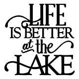 Chase Grace Studio Life is Better at The Lake Fishing Camping Vinyl Decal Sticker|Black|Cars Trucks SUV Laptops Boats Kayak Tool Box Wall Art|5.5' X 5'|CGS262