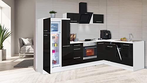 respekta Kuchnia kątowa kuchnia w kształcie litery L kuchnia biała czarna wysoki połysk 290 x 200 cm