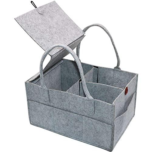 Organizador de pañales para bebé, organizador de pañales, de fieltro, aspecto de lujo, bolsa de soporte portátil con compartimentos extraíbles