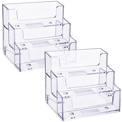 2 Piezas de Soporte de Tarjetas de Visitas de 3 Niveles Organizador de Tarjetas de Plástico Portatarjetas Transparente Tarjetero para Oficina, 180 Tarjetas de Capacidad