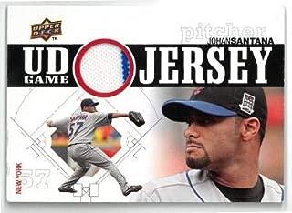 Johan Santana New York Mets 2010 Upper Deck Game Used Jersey Card #UDGJ-JS - Baseball Game Used Cards