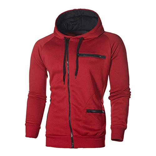 Men Women Hooded Sports Jacket Winter Hoodie Hip-Hop Skateboard Sweatshirts Pullover Coat Red XL