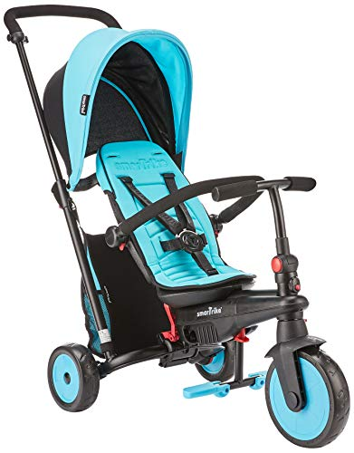 smarTrike STR3 Folding Toddler Tricycle with Stroller Certification for 1,2,3 Year Old - 6 in 1 Multi-Stage Trike, Blue