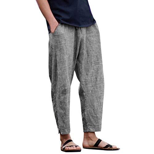 Pantalones Hombre Verano Pantalones de Lino Sueltos Pantalón de Playa Color sólido Moda Hombres...