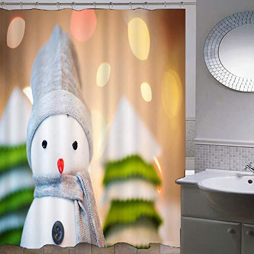 Duschvorhang-Weihnachtsserie 179,Anti-Schimmel Anti-Bakteriell Wasserdichter Badvorhang 3D Wirkung Polyester Duschvorhang Mit 12 Haken,Umweltfre&lich Waschbar Duschvorhang 120X180Cm
