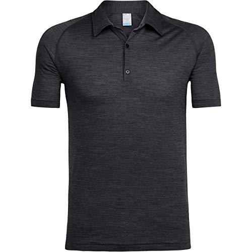 icebreaker Herren Mens Sphere SS Polo Poloshirt, Black Hthr, S