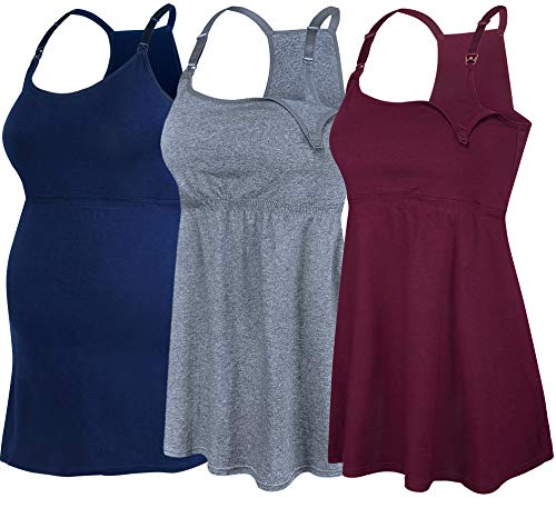 SUIEK Women's Nursing Tank Top Cami Maternity Bra Breastfeeding Shirts (X-Large, Charcoal+Navy+Burgundy - Fourth Style)
