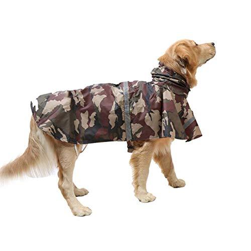 KoKoBin Reflektierend Hunderegenmantel mit Kapuze ultraleichte atmungsaktive wasserdichte Hundejacke Regenhülle für mittlere und große Hunde(braun,XXL)