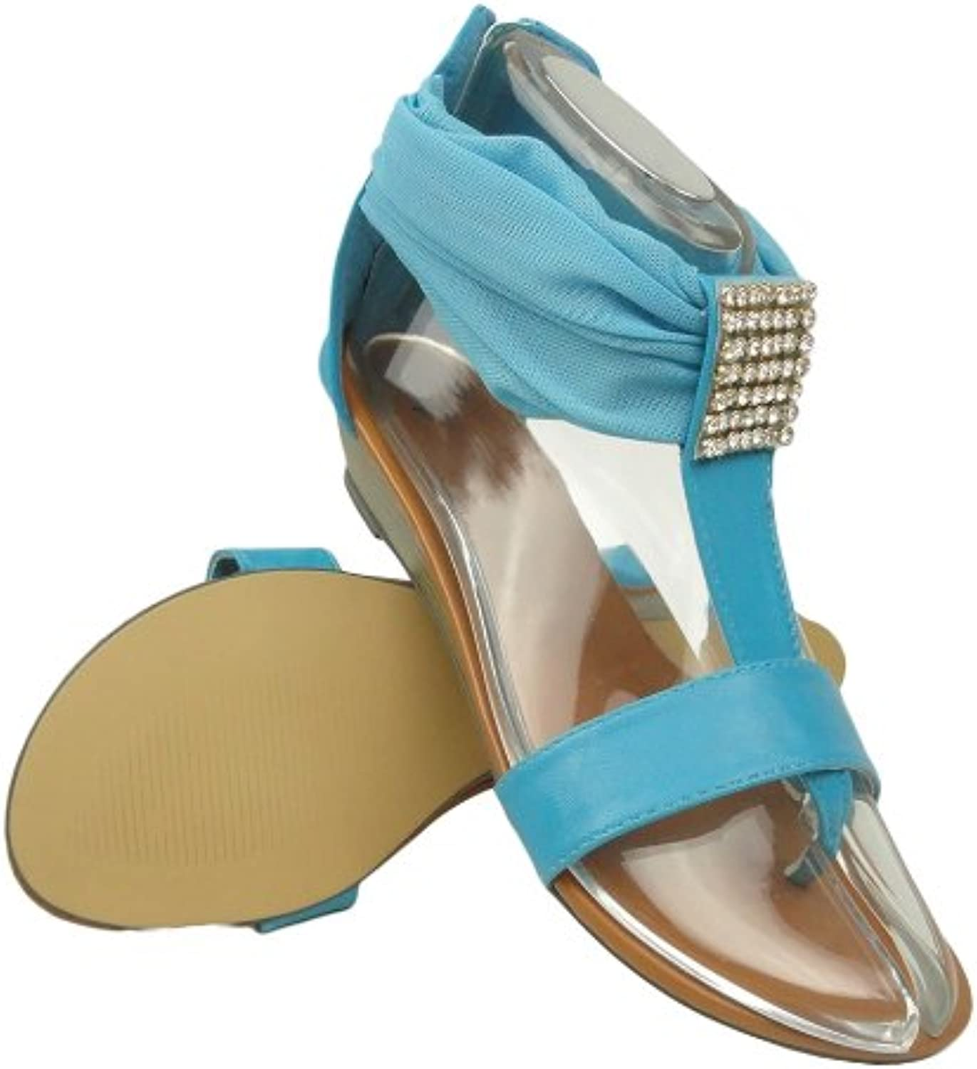 KSC Womens Flat T-Strap Mesh Thong Sandals bluee Rhinestones Back Zipper