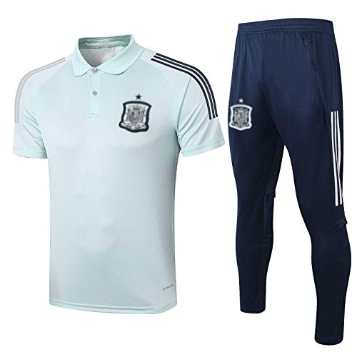 WEUJNA European Football Club Hombres Casual Sports Top Polo Camisa Mangas Cortas Cuello Redondo Deporte Competición Traje De Entrenamiento De Fútbol Transpirable (Top + Pantalones)