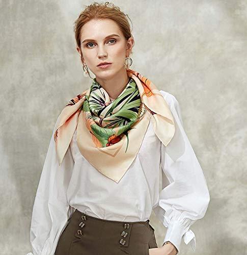 ZWQ Quadratischer Schal aus 100% Reiner Seide - 90 cm x 90 cm - Atmungsaktiver Leichter Schal - Stirnband mit Digitaldruck,B