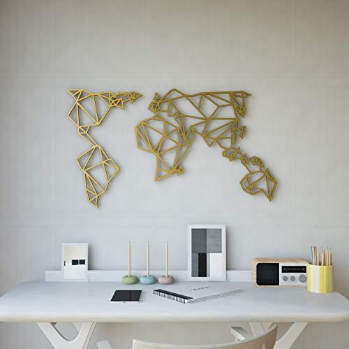 Homemania Dekoration aus Metall, Weltkarte, Silber, W120xd0,15xh60 cm