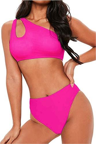 FAFOFA Ladies High Waisted Bikini Set One Shoulder Push up Cutout Bandage Two Pieces Bathing Suit S Pink