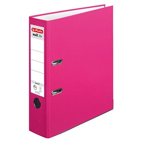 Herlitz 11053683 Ordner maX.file protect A4 (8 cm mit Einsteckrückenschild) pink