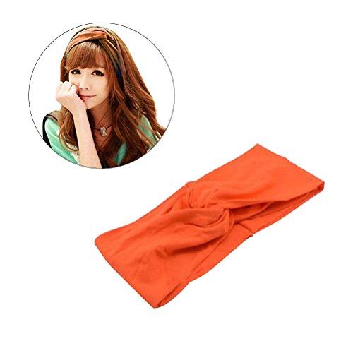 Frcolor - Fascia elastica per capelli a turbante, con nodo intrecciato, da donna, colore: arancione