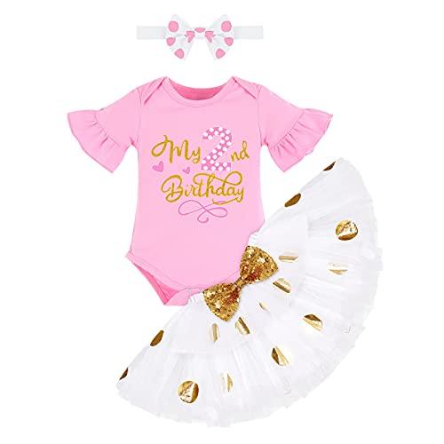 FYMNSI Conjunto de ropa de 3 piezas para bebé, de algodón, de manga corta, con tutú de lunares y cinta para la cabeza Rosa y blanco. 2 Años
