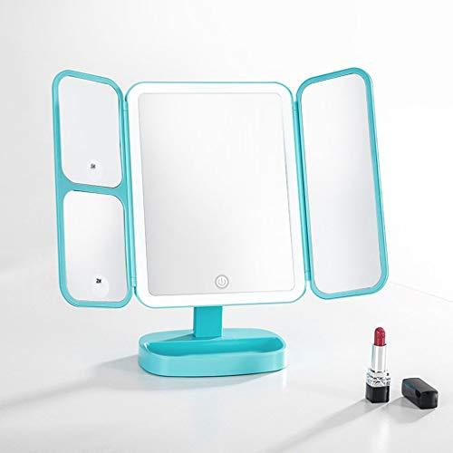 YIN YIN Miroir cosmétique, LED Miroir de Maquillage Miroir de Bureau Trois Fois Portable écran Smart Touch HD Beauté Miroir de Table (Color : Blue)