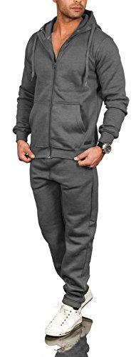 A. Salvarini Herren Jogging Anzug Trainingsanzug Sportanzug Sweatshirt AS071 (Gr. L, Dunkelgrau)