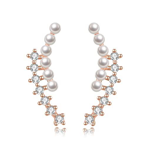 Immobird Pendientes de Mujer y Niña Plata de Ley de 925 con Circonita Cúbica Perlas, Pendientes Perla Mujer Oro Rosa