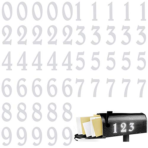 Zonon 60 Pieces Reflective Mailbox Numbers Stickers Vinyl Self Adhesive Numbers Stickers Decals Waterproof Address Numbers 0-9 Stickers for Window Signs Doors Cars House, 2 Inches