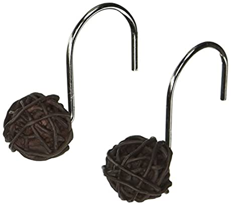 brown ball of wood / tree sticks / branches shower curtain hooks
