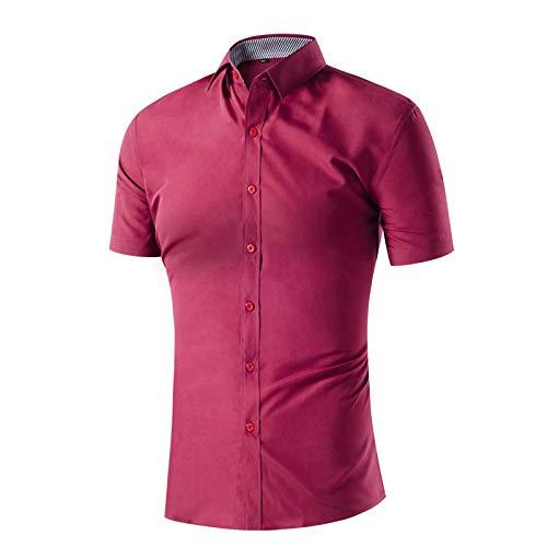 Camisa de Manga Corta para Hombre Camisa de Manga Corta Delgada Informal de Verano Camisa de Manga Corta de Color sólido Simple de Moda 3XL