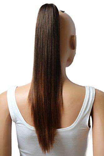 PRETTYSHOP 50cm Haarteil Zopf Pferdeschwanz Haarverlängerung Glatt Braun Mix H59