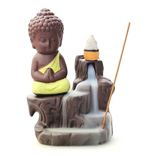 WANGPIN Incense Burner Backflow Tower Cones Sticks Holder Ceramic Porcelain Buddha Monk Ash Catcher (Yellow)