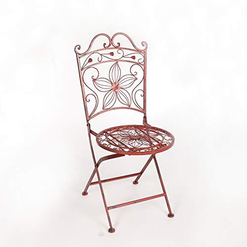 Chaise jardin metal fer forge fauteuil bordeaux rustique vintage elegance rouge