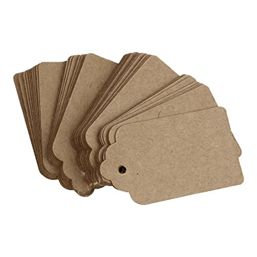 Hrsptudorc Pack 24 Rustic 40mmx70mm Scalloped Kraft Paper Card,Blank Brown Tag,Wedding Favour,Gift Tag,DIY Tag,Luggage Tag,Price Label - Small (24)