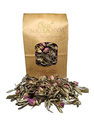 'Pace e Amore' (Silver Tips with Rosebuds) - Herbal Tea - Whole Organic Olive Leaves from The Hills of Mattinata (Italy-Apulia-Gargano) (100 gr. Bag)