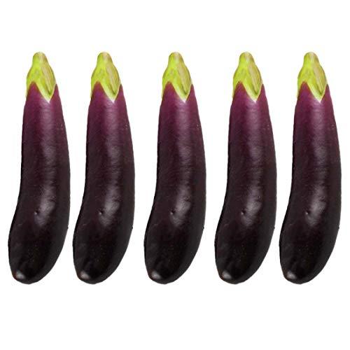 Lorigun 5 Stücke Künstliche Auberginen Simulation Gefälschte Gemüse Foto Requisiten Home Decoration