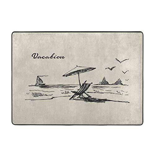 Alfombra de playa suave para dormitorio, dibujo a mano, estilo de boceto con formaciones de roca para barco y pájaros, 3 pies x 5 pies, decoración del hogar alfombras de piso