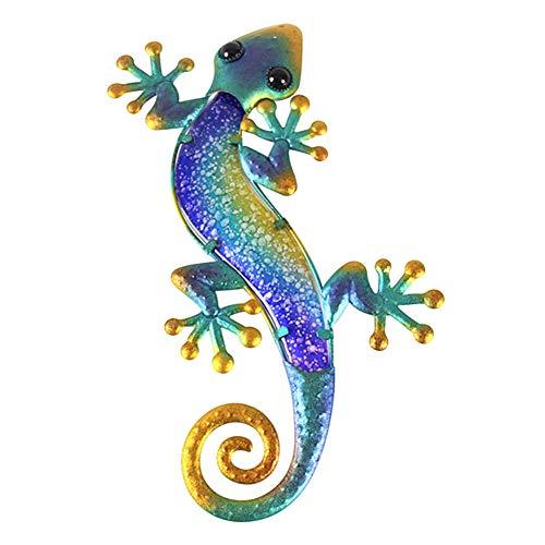 Craftscmq Skulptur Statuen Glas Gecko Badezimmer Wanddekoration Hinterhof hängende Skulptur Gartendekoration Statue Terrasse Zaun Schlafzimmer Indoor Outdoor Hotel-A