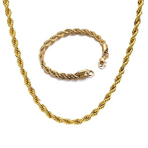 JinYu 2 Stk Herren Halskette Armband, Nachbilden Gold Kette, Flache Panzerkette, Glitzern und Hübsch