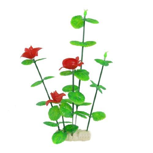 Sourcingmap Kunststof Aquarium Kunstbloemen Plant, 10.8-inch, Rood/Groen