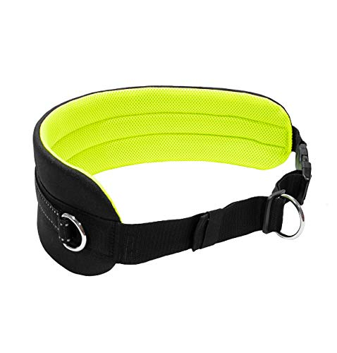 LasaLine Bauchgurt für Jogging Laufen Wandern Dogtrekking in Schwarz Neongelb