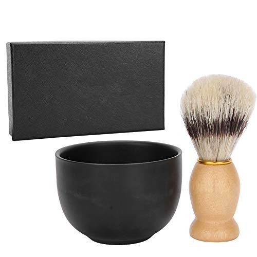2 unids/set cuenco de jabón de afeitar cuenco de afeitar de acero inoxidable cepillo de afeitar cepillo de barba Kit de herramientas de aseo facial para hombres para peluquería