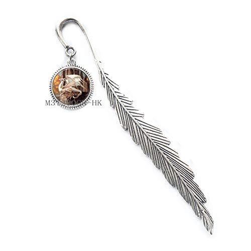 Segnalibro a forma di drago con lupo, segnalibro in ottone, segnalibro con drago fantasy, gioielli fantasy e drago Jewelry-MT122