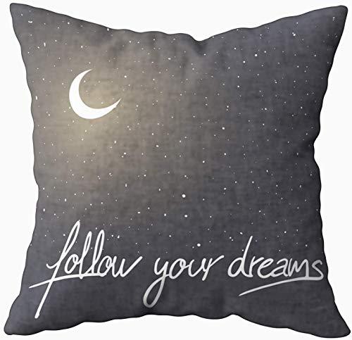 Divertida funda de almohada, con mensaje de Follow Dreams de 40,6 x 40,6 cm, fundas de almohada para sofá o sofá